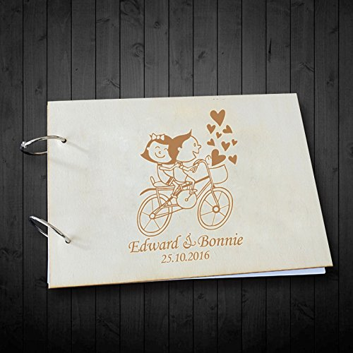 Cute Romantic Dolls Riding Bike Heart Wedding Scrapbook Photo Albums Personalized Name and Date Anniversary Gifts, Valentines Day Gifts,Wedding Gifts