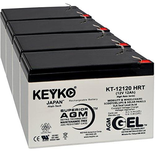 (Terminator II 12V 12Ah Battery - Fresh & Real 14.0 Amp - Gel Deep Cycle AGM/SLA Designed for Scooters - Genuine KEYKO KT-12120 HRT - F2-4 Pack)