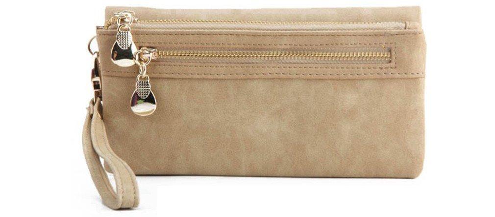 Yosohbag Women Wallets Long Polish PU Leather Wallet Double Zipper Clutch Coin Purse Beige