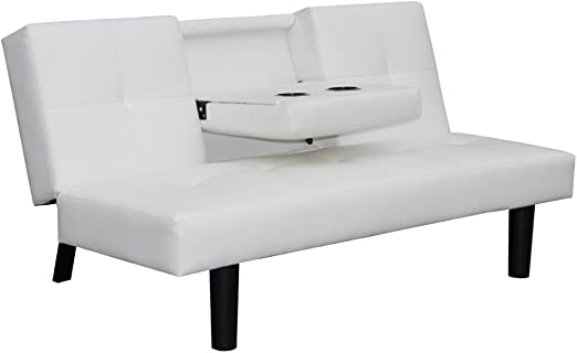Festnight Mueble de Sofá Cama Desplegable con Mesa Blanco: Amazon ...