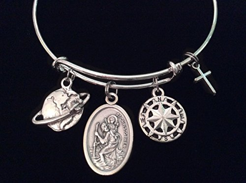 Christopher Italian Charm (Saint Christopher Patron Saint of Travel Silver Expandable Charm Bracelet Adjustable Bangle Double Sided Gift Inspirational)