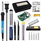 Soldering Iron Kit Electronics, 13-IN-1 Full Set with 60w Adjustable Temperature Welding Soldering Iron Tool, 5pcs Soldering Tips, Desoldering Pump, Solder Wire, 2pcs Tweezers, Soldering Iron Stand