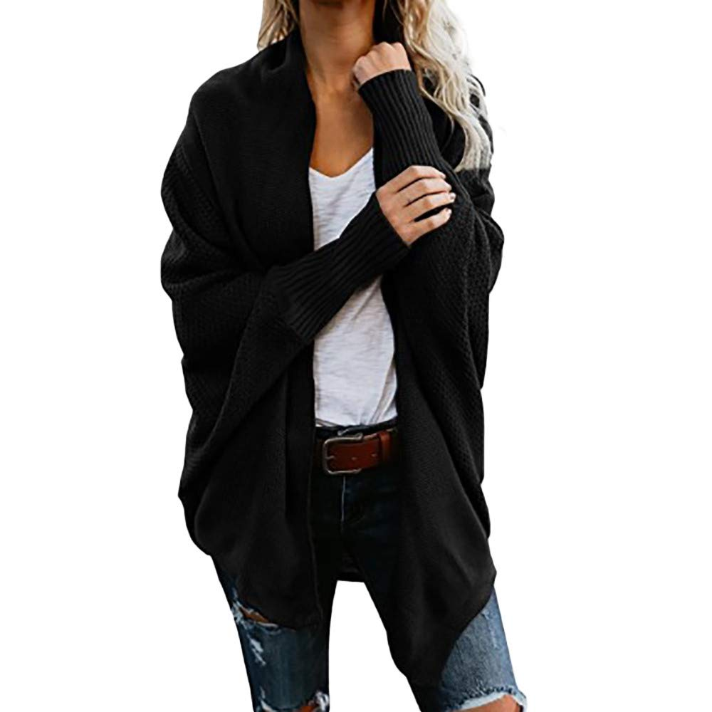 GREFER Fashion Women Coats Off The Shoulder Sweater Casual Knitted Loose Long Sleeve Pullover