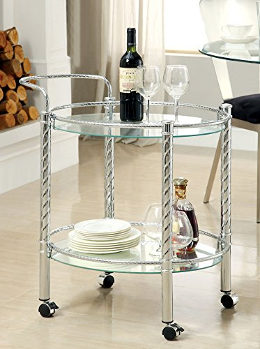 Glass Serving Cart - Furniture of America Verona Contemporary Serving Cart, Chrome
