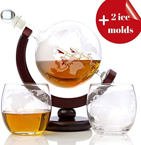 Whiskey Globe Decanter Set Glasses product image