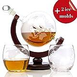 Whiskey Globe Decanter Set (28 Oz) for Liquor | Bourbon | Vodka with 2...