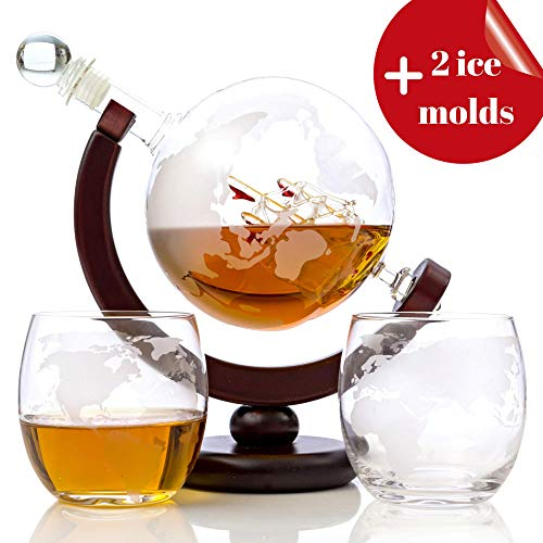 Whiskey Globe Decanter Set (28 Oz) for Liquor ● Bourbon ● Vodka ● with 2 Glasses (10 Oz) and More in Premium Gift Box - Home Bar Accessories for Men -