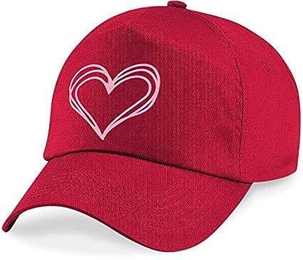 laylawson Girls Scribble Doodle Heart Baseball Cap Kids Childrens Pink Love Summer Hat