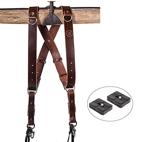 HoldFast Gear Money Maker Multi-Camera Harness, Burgundy Water Buffalo Leather (Large) and Two Ivation Replacement Plates for the Mefoto Roadtrip, Backpacker Tripod Systems by Calumet