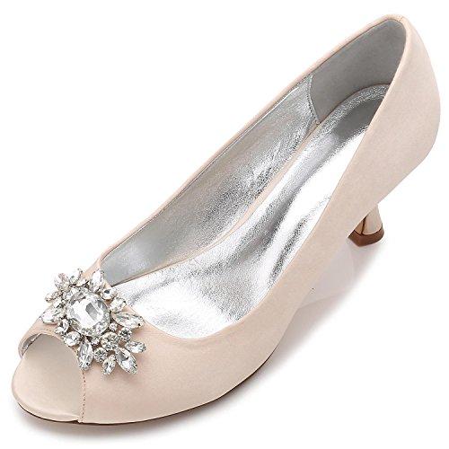 L@YC Frauen Hochzeit Schuhe F17061-57 Strass mit Damen Kleid Schnalle Satin Party Ballsaal Schuhe Champagne