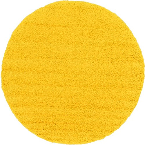 Unique Loom Solid Shag Collection Tuscan Sun Yellow 8 ft Round Area Rug (8' 2