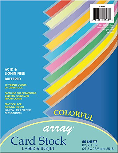 Pacon Card Stock, Colorful Assortment, 10 Colors,  8-1/2