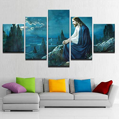5 Panels Giclee Canvas Prints Jesus Wall Decoration Canvas Pictures for Living Room, Bedroom, Office - Keep Your Inner Peace,Size1
