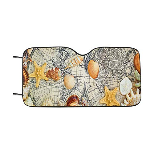 INTERESTPRINT Sea Shells Lie on The Old Geographical Map Car Sun Shades UV Protector, Auto Windshield Shades to Keep - Seashell Lies