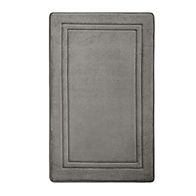 MICRODRY Quick Drying Memory Foam Framed Bath Mat with GripTex Skid-Resistant Base, 21x34, Charcoal - MULTIPLE SIZES & SET AVAILABLE: 17 x 24 in, 21 x 34 in. Set includes: 1 small (17x24) and 1 large (21x34) bath mat. Machine wash & dry. Made of 100% polyester. Imported. MEMORY FOAM HD: Extra-thick memory foam provides high-density support & cushioning comfort. QUICK-DRYING: Our SpeedDry ventilating memory foam dries 40% faster than regular memory foam bath mats helping to maintain freshness. - bathroom-linens, bathroom, bath-mats - 51Dn9ridPsL. SS400  -