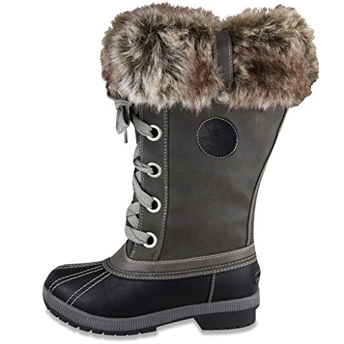 Melton Waterproof Waterproof Boot Fog Weather Womens Cold Grey Black London Snow HwE6AqvWAx