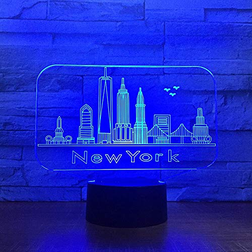 HDZWW 3D Illusion Night Light,LED Table Desk Lamps,York City Building 3D Night Light Colorful,7 Colors USB Charge Lighting Bedroom Home Decoration for Kids Christmas Halloween Birthday Gift