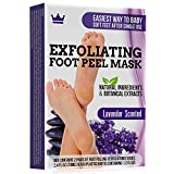 Exfoliating Foot Peel Mask - 2 Pairs of Booties for Smooth and Soft Feet - Peeling Away Rough Heels Dead Skin Cells and Calluses - Lavender Scented Natural Formula for Silky Soft Feet
