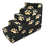 Best Pet Supplies 5-Step Foam Pet Stairs/Steps, 30 by 15 by 23-Inch, Beige Paw on Black