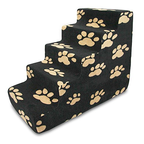 Best Pet Supplies ST210T-L Foam Pet Stairs/Steps, 5-Step, Black