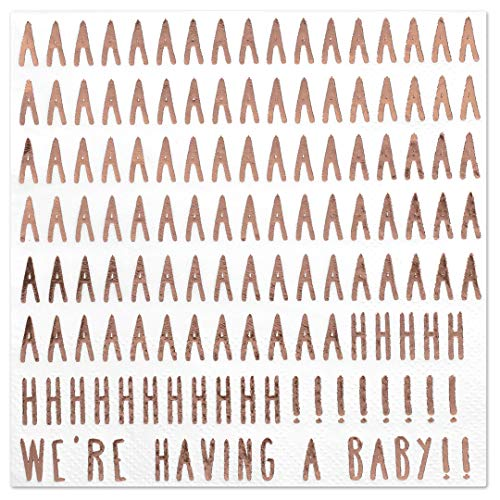 (Andaz Press We're Having a Baby! Funny Quotes Cocktail Napkins, Rose Gold Foil, Bulk 50-Pack Count 3-Ply Disposable Fun Beverage Napkins for Baby Shower)