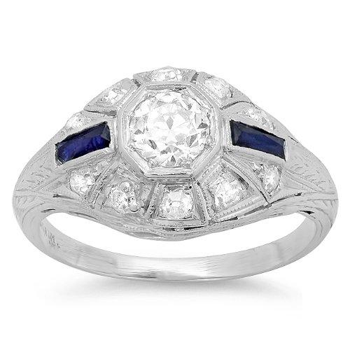 Platinum Diamond and Sapphire Halo Art Deco Ring (0.90 (Art Deco Platinum Diamond Sapphire)