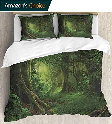 (3 Pcs Duvet Cover Sets,Box Stitched,Soft,Breathable,Hypoallergenic,Fade Resistant 3D Print 100% Polyester Fiber Quilt Cover 2-Pillowcases -Forest Enchanted Tropical Woodland (87