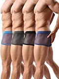 Forest Men's Boxer Briefs Sexy Underwear Mesh Breathable Gay Low Rise Boxers(36Hei,L)