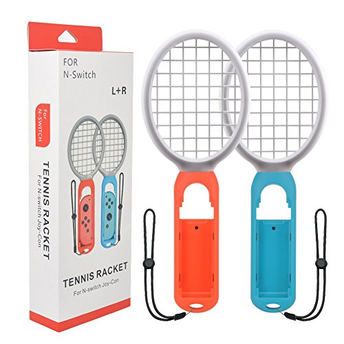 Tennis Racket Nintendo Switch Joy-Con Controllers Games Mario Tennis ACES Somatosensory Games Nintendo Switch Accessories Blue Red Tennis Racket Only Use Swing Mode(1 Pair)