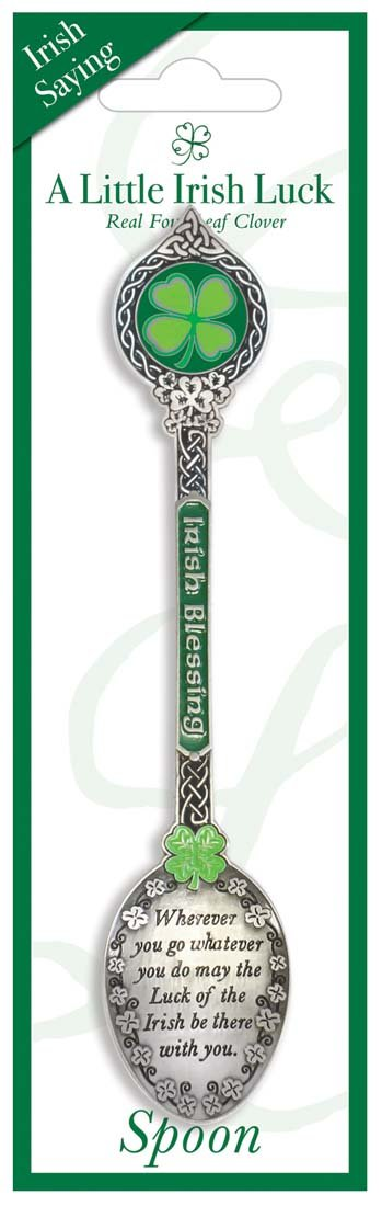 Clover Collectable Spoon with Irish Saying and Irish Blessing Text Carrolls Irish Gifts