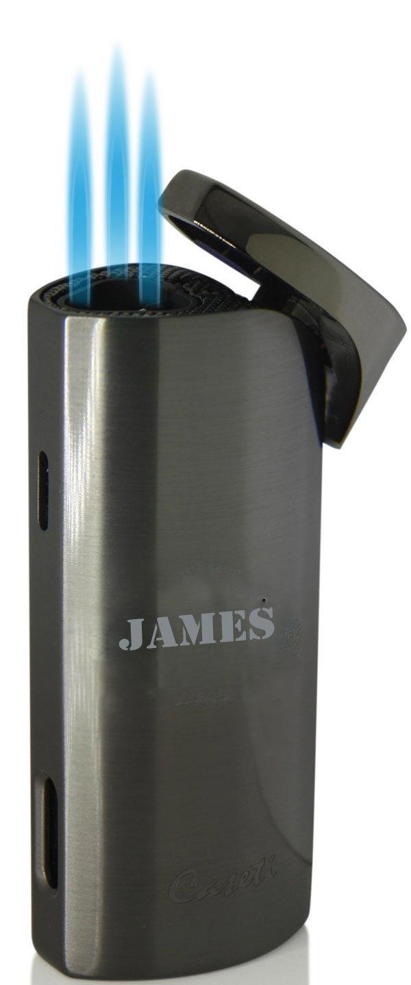 Personalized Caseti Basilisk Triple Jet Cigar Lighter - Gunmetal with free engraving