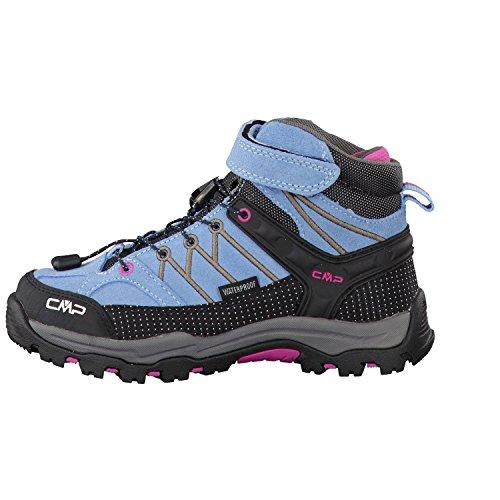 CMP RIGEL - zapatillas de trekking y senderismo de cuero niña Fiordaliso-Cacao-Magenta