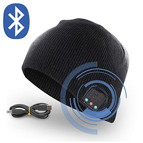 Bluetooth Beanie Hat for Men and Women - Wireless Beanie Cap with Headphones Built in & Microphone for Handsfree Music and Calls - Perfect Unisex Christmas Ideas