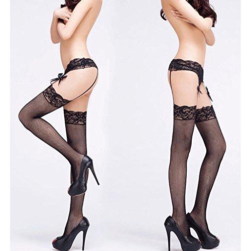 FLH Atractiva ropa interior Encaje Ligero Negro Muslo Medias Medias Tentación Ropa interior Sling Calcetines erogeno