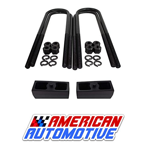 "Nice 2002-2008 RAM 1500 2WD/ 4WD 3"" Rear Suspension Lift Solid Cast Iron Blocks + Extra Long 11"" Round Leaf Spring Axle U Bolts"