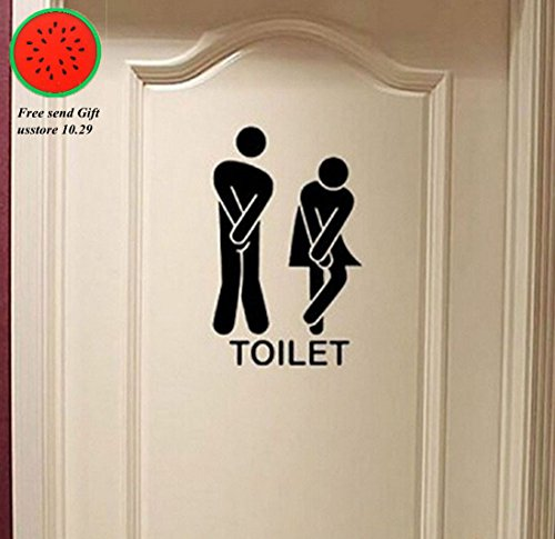 Removable Cute Man Woman Washroom Toilet WC Wall Sticker Fam