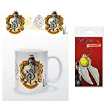 Set: Harry Potter, Hufflepuff Crest Photo Coffee Mug (4x3 inches) and 1 Harry Potter, Keychain Keyring For Fans (2x2 inches)