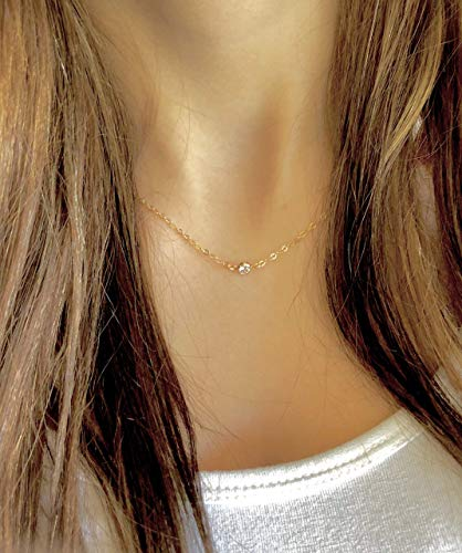 Link Dot (Woman's Micro Mini Cubic Zirconia Dot Connector Link Charm Necklace, Choker Style, Minimalist Jewelry, Gift for Her Handmade)