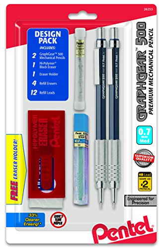 Pentel GraphGear 500 Automatic Pencil Kit, 0.7mm, Refill Leads, Block Eraser 2 Pack (PG527LEBP2)