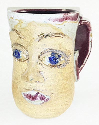 Aunt Chris Pottery   Hand Made Clay   Lady Face Drinking Mug   Glazed Red With Blue Eyes   Large Loop Handle For Holding