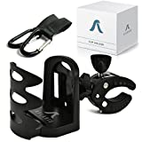 Universal Stroller Cup Holder + 2 Hooks | Attachable Drink Holder Fits All Strollers, Bike, Wheelchair, Pushchair | Adjustable Water Bottle Holder by Aflario