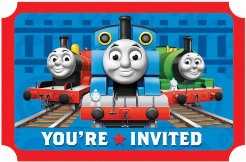 Amscan Thomas The Tank Engine Birthday Party Die-Cut Postcard Invitations, Blue/Red, 3 7/8
