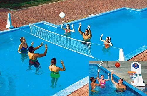 NEW Pool Jam In Ground Valleyball/Basketball Net Combo by Pool Accessories