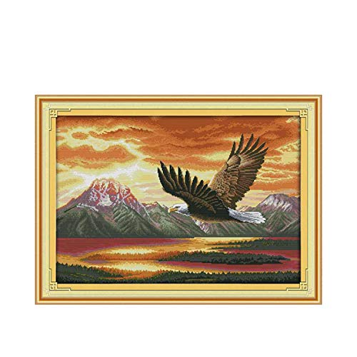 The Flying Eagle Patterns Counted Cross Stitch 11ct 14ct Cross Stitch Sets Animals Cross Stitch Kits Embroidery Needlework,14ct Blank Canvas