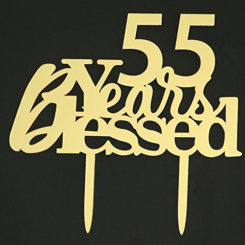 LOVELY BITON Mirrored Gold 55 Years Blessd Cake Topper Shining Number for Wedding, Birthday, Anniversary, Party Decoration.