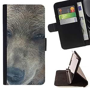 Momo Phone Case / Flip Funda de Cuero Case Cover - Retrato del oso;;;;;;;; - Motorola Moto E ( 1st Generation )