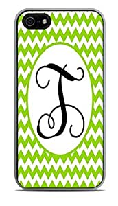 Letter T Monogram Green Cheveron White Silicone Case for iPhone 5 / 5S by icecream design