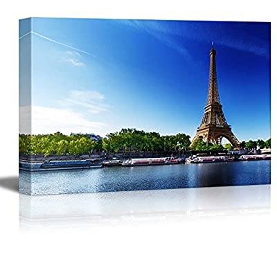 Canvas Prints Wall Art - Seine in Paris with Eiffel Tower in Sunrise Time | Modern Home Deoration/Wall Art Giclee Printing Wrapped Canvas Art Ready to Hang - 16