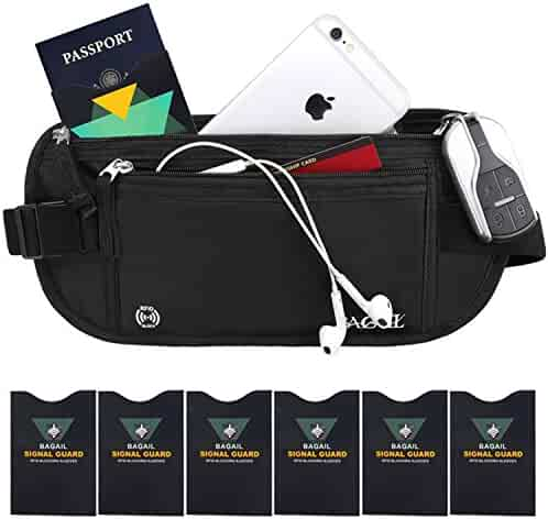 RFID Travel Money Belt with 1x Passport and 6x Credit Card Protector RFID Sleeves