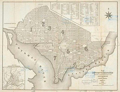 Historic 1850 Map   Map of the city of Washington : established as the permanent sea   Washington (D.C.)   Washington (D.C.) -- MapsMaps of North America.   Washington, D.C.